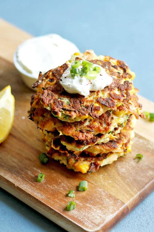 Zucchini and Haloumi Fritters with Sweet Corn | Co…