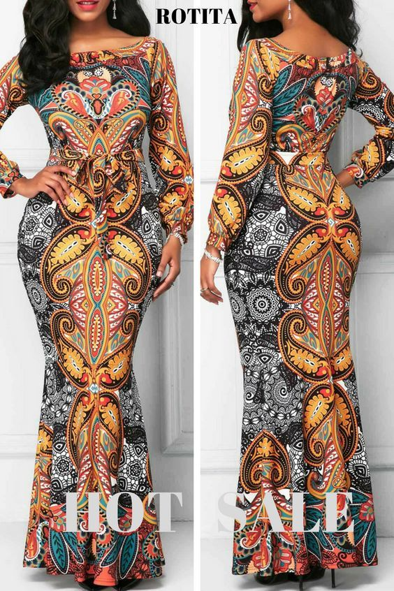 1a14a9b90a972 Belted Printed Long Sleeve Mermaid Dress.African Print Mermaid design is  perfect.Add to cart. rotita