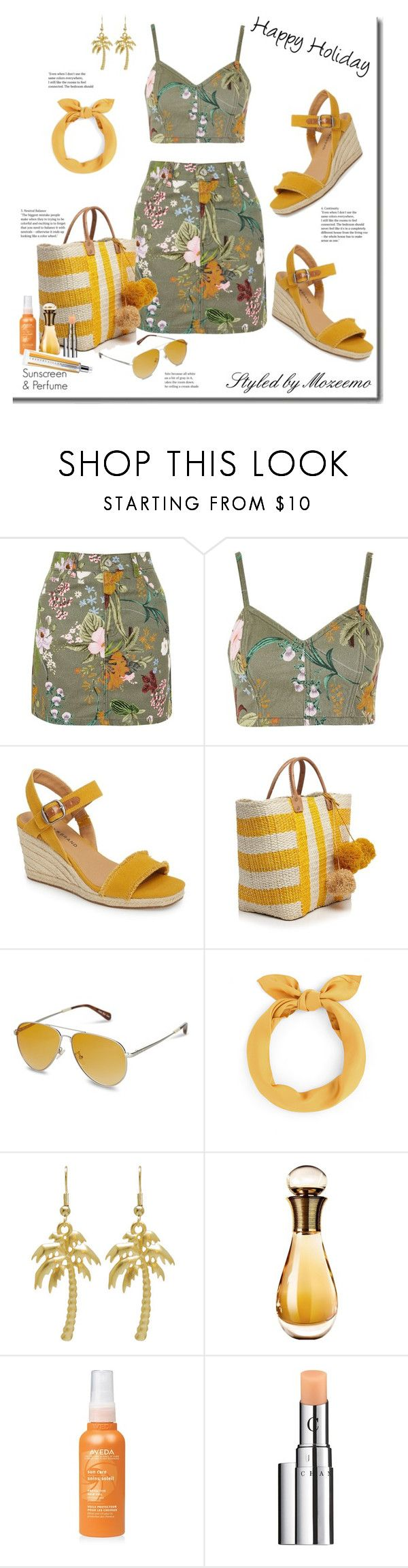 Hawaiian Print Bralet & Skirt Outfit by mozeemo on Polyvore featuring Topshop, Lucky Brand, Mar y Sol, TOMS, Chantecaille, Christian Dior and Aveda
