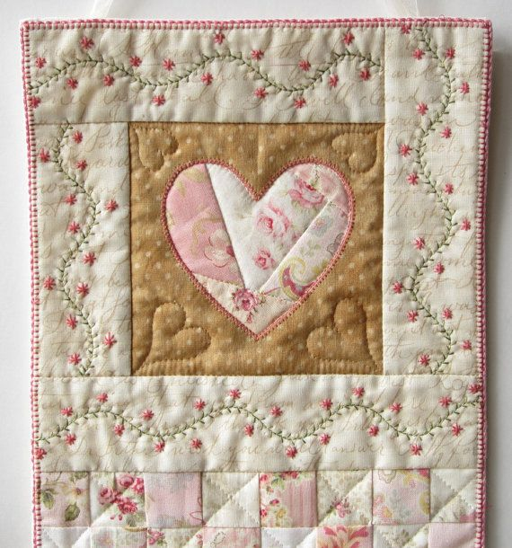 Heart Wall Quilt Shabby Cottage Chic Wall Quilt Mini