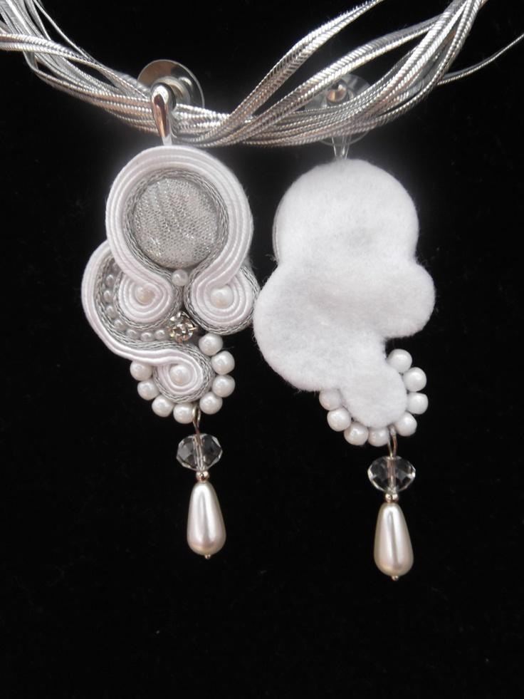 Handmade white & silver Soutache Bridal crystal earrings