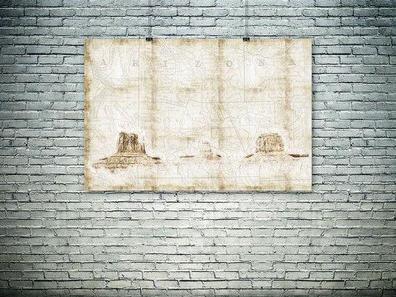 Arizona map collage Arizona Monument Valley by PasteUpStore