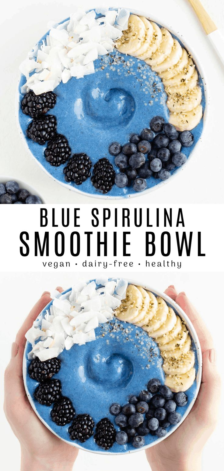 This blue smoothie bowl is refreshing, sweet, and calming! Enjoy a vegan dairy-free blue smoothie recipe made with spiru…