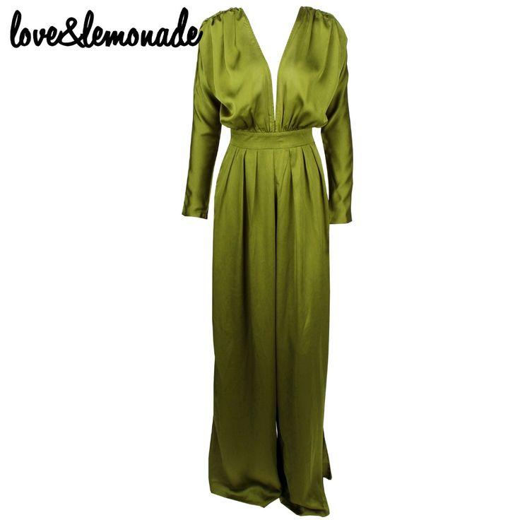 Любовь и Лимонад Зеленый Sexy V образным Вырезом Высокой Талией Свободные Комбинезоны ТБ 9615купить в магазине LOVE&LEMONADE StoreнаAliExpress