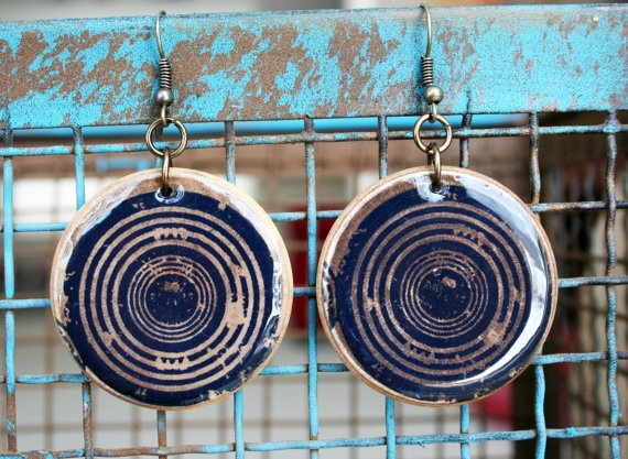 Wooden earrings with circle design Orange or black by craftybomb, $22.00