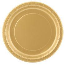 "Bulk Dark Gold Metallic Paper Party Plates, 9"", 20-ct. Packs at DollarTree.com  6 packs of 20-ct = 120 = $6"