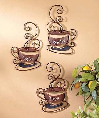 Awesome NEW* Set Of 3 Decorative Wall Coffee Cups  Great For Cafe Or Home Kitchen  Decor