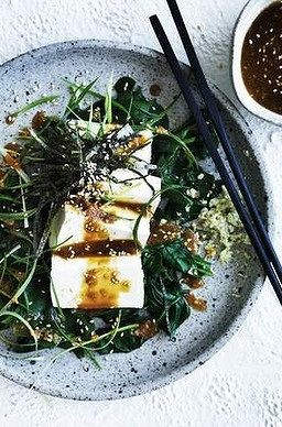 COLD TOFU & SPINACH SALAD with SHREDDED NORI, SCALLION, SOY SAUCE ...