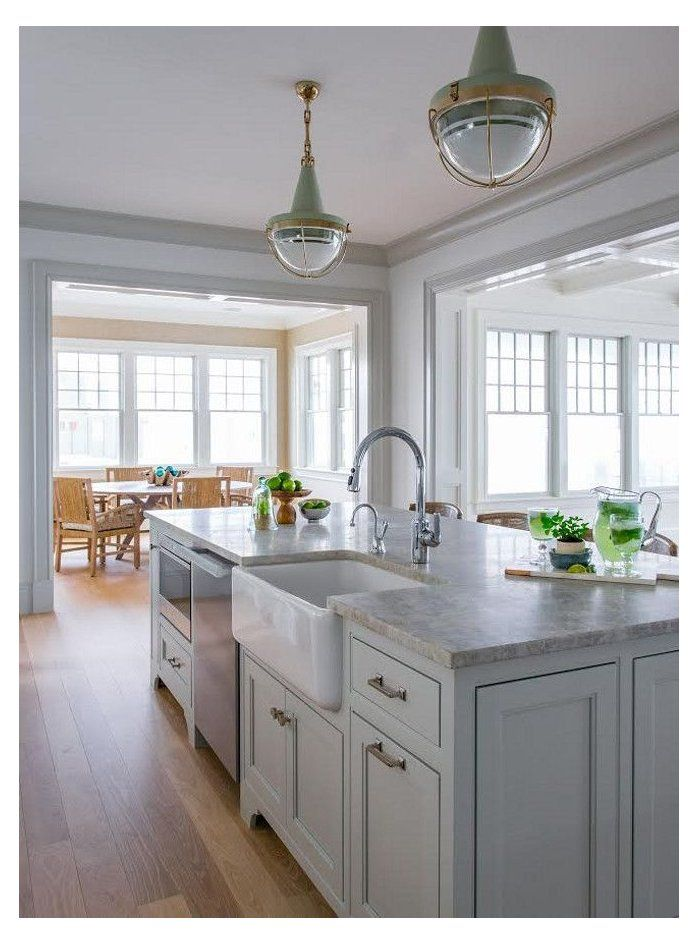 Ben Moore Gray Owl Kitchen With Quartzite Countertop Kitchen Island Ideas W Kitchen Island With Sink Kitchen Island With Sink And Dishwasher Kitchen Layout