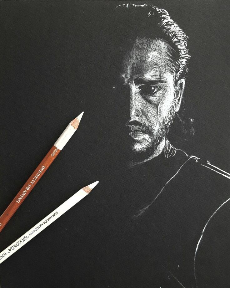My drawing of Kit Harrington as Jon Snow in black and white