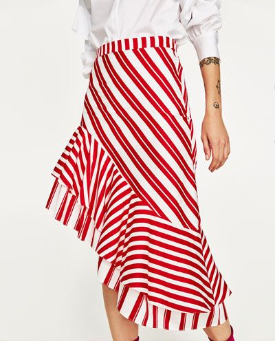 STRIPED SKIRT WITH FRILL-NEW IN-WOMAN | ZARA United States
