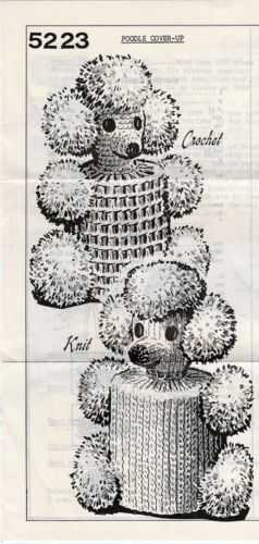 Vintage-Crocheted-or-Knitted-Poodle-Toilet-Paper-Roll-Covers-Pattern-5223