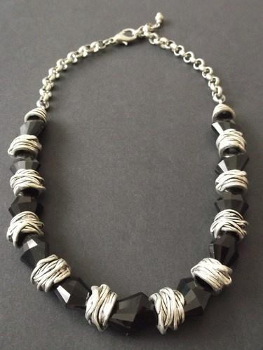 Black Glass & Tibet Silver Necklace