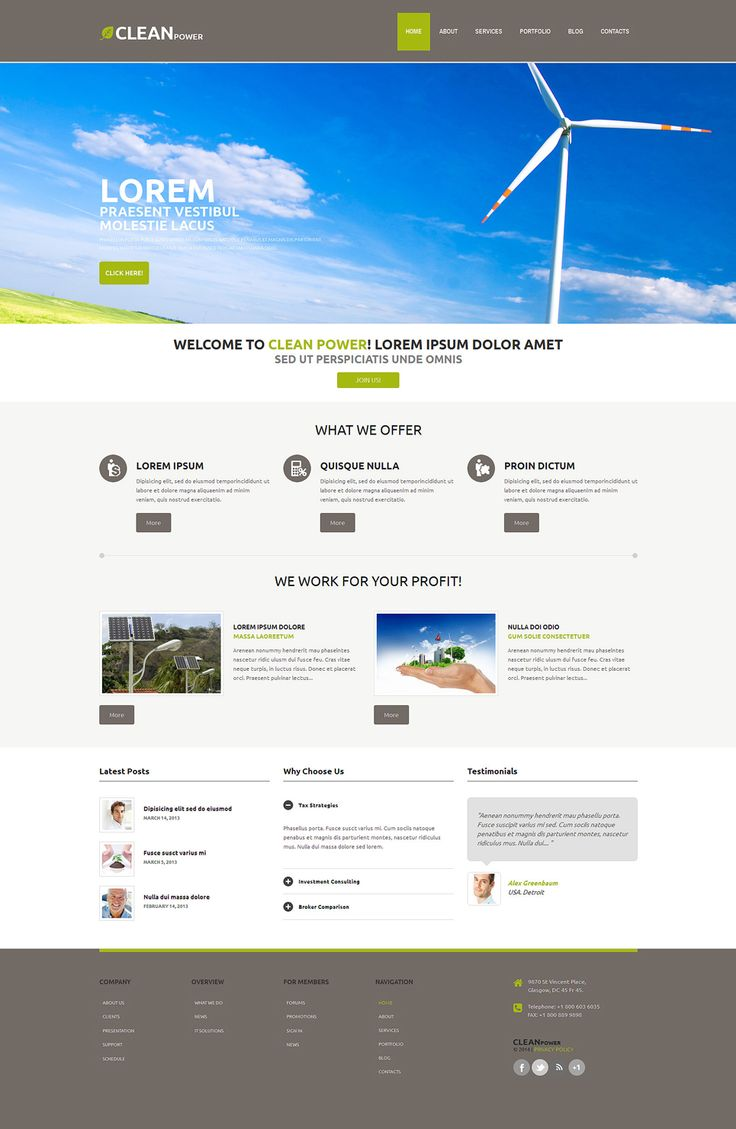 Best 12 Environmental & Clean Energy WordPress Themes (Solar, Wind and Recycling) - Wind Energy (WordPress template) Item Picture