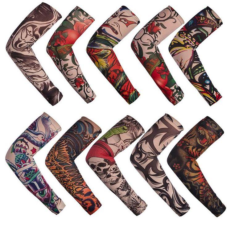 12pcs/lot mix elastic Fake temporary tattoo sleeve 3D art designs body Arm leg stockings tatoo cool men women