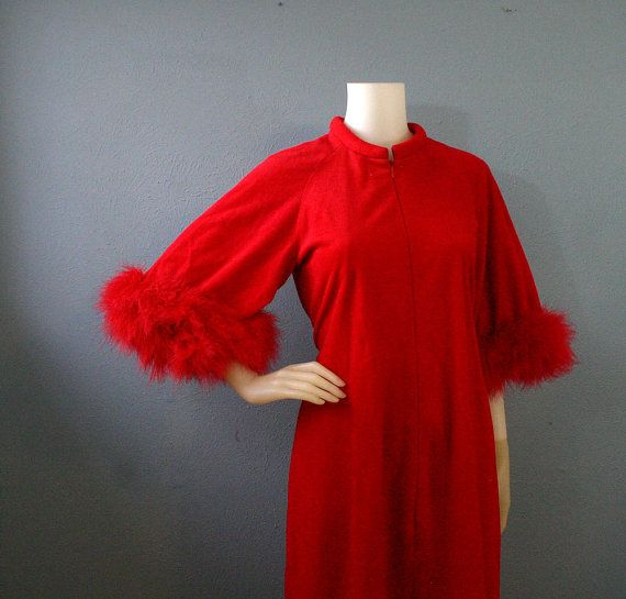 60s Red Zip Up Robe With Marabou Trim   by ThedaBaraVintage, $42.00