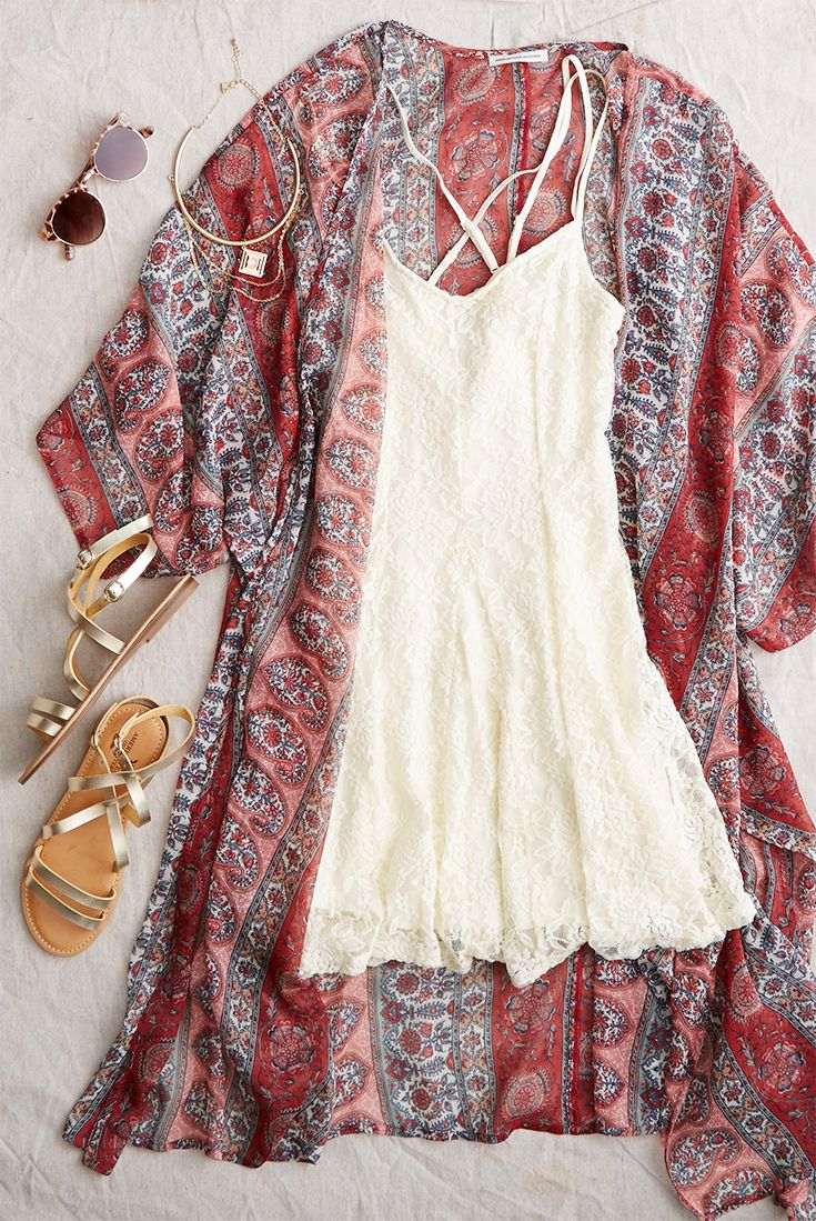 AEO Lace Cross-Back Dress, Cream Make a summer statement in #AEOSTYLE.