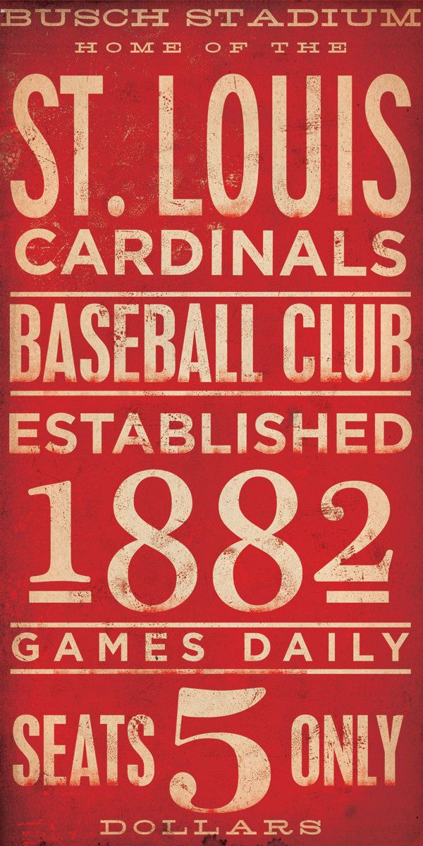 St Louis Cardinals baseball typography graphic art on canvas 10 x 20 by stephen fowler. $90.00, via Etsy.