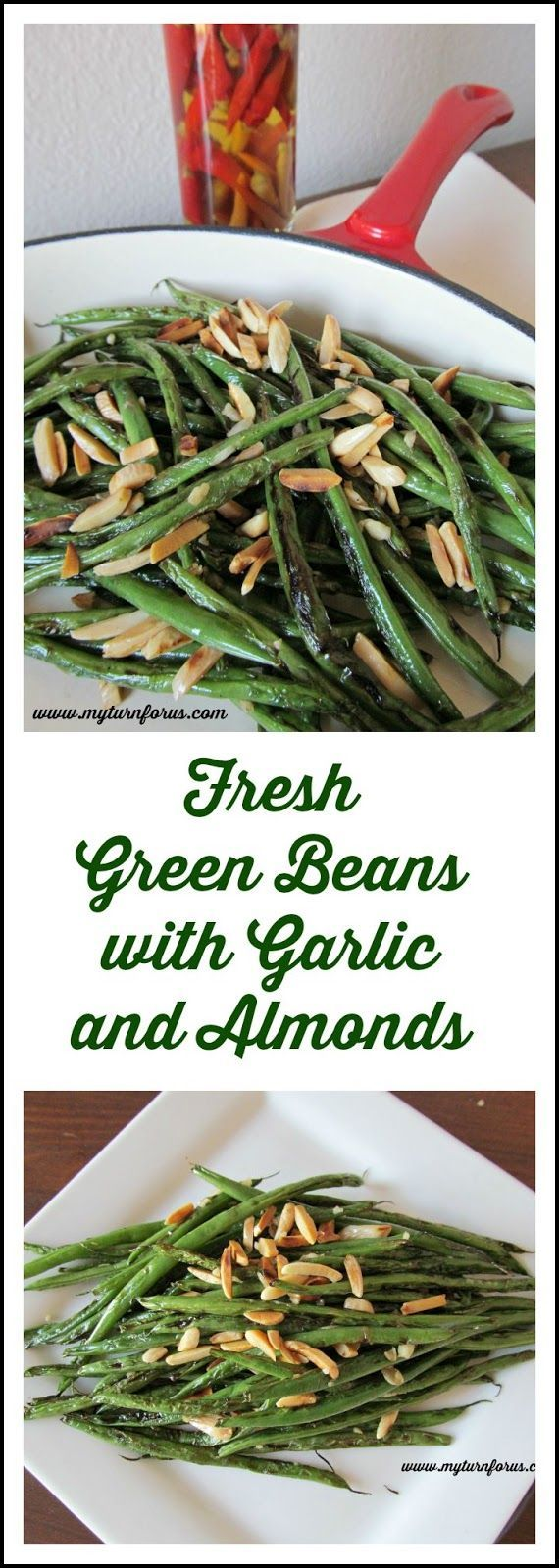 Fresh green beans are delicious stir-fried with a little garlic, a few seasonings and topped with toasted almonds!       http://www.myturnforus.com/2015/08/fresh-green-beans-with-garlic-and.html