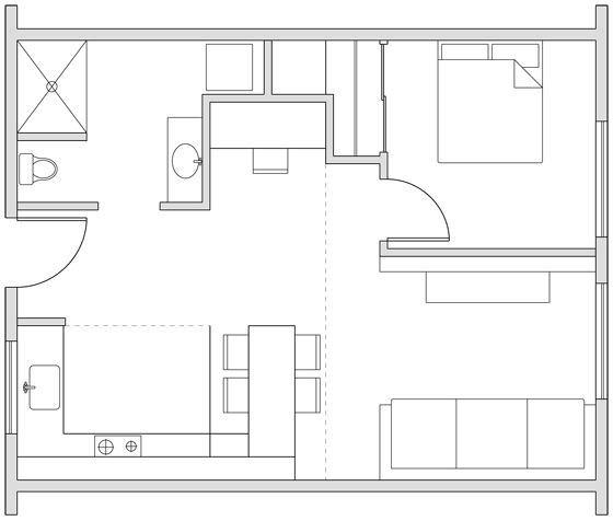 300 Sq Ft. House Designs | Joseph Sandy » Small Apartments: 250, 350 and 500 Square Feet