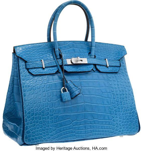 Luxury Accessories:Bags, Hermes Special Order Horseshoe 35cm Matte Mykonos & Blue deMalte Alligator Birkin Bag with Brushed Palladium Hardware.Pr...