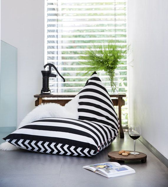 Bean Bag, Bean Bag Chair, adults beanbag , teens beanbag , patio furniture,outdoor bean bag, indoor beanbag black and white stripes