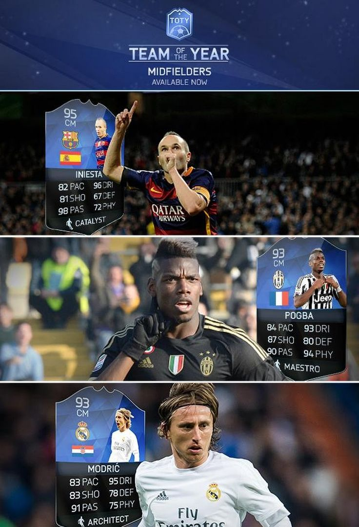 FIFA 16 TOTY Team of the Year Midfielders are NOW IN PACKS! http://www.ultimateteam.co.uk/2016/01/11/fifa-16-toty/ #FUT #TOTY