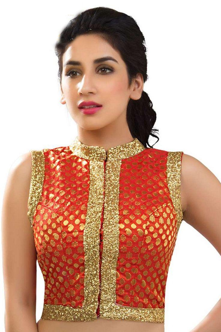 Orange & gold zari embroidered banarasi semi brocade blouse -BL527 | fashionable saree blouses online | #orange #gold #zari #embroideredblouse