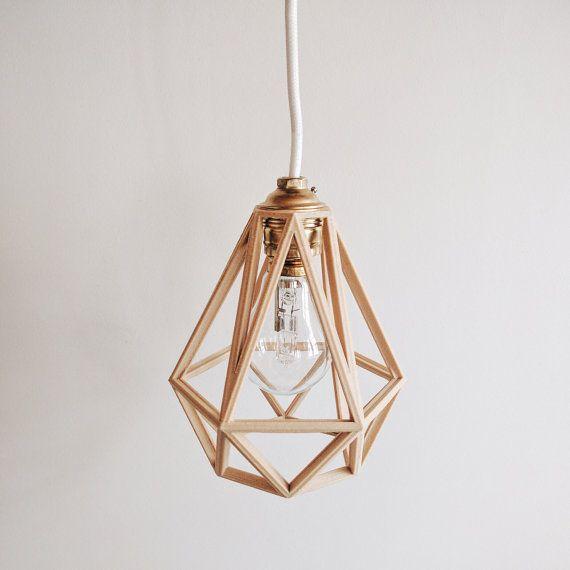Pendant light Diamond Cage in wood - Handmade