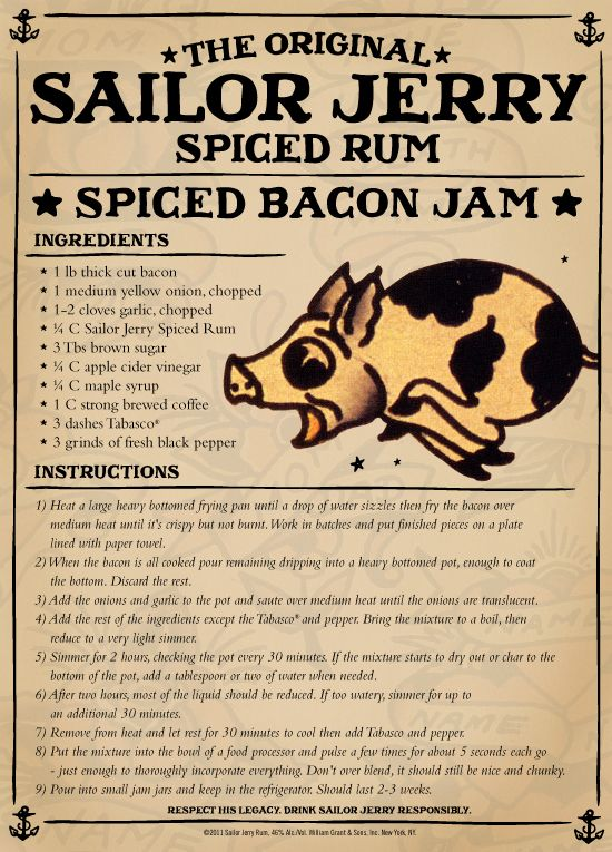 I may never make this - it just looks like fun! Sailor Jerry Spiced Rum Spiced Bacon Jam.... Rum-Bacon... OH MY HEAVEN!!