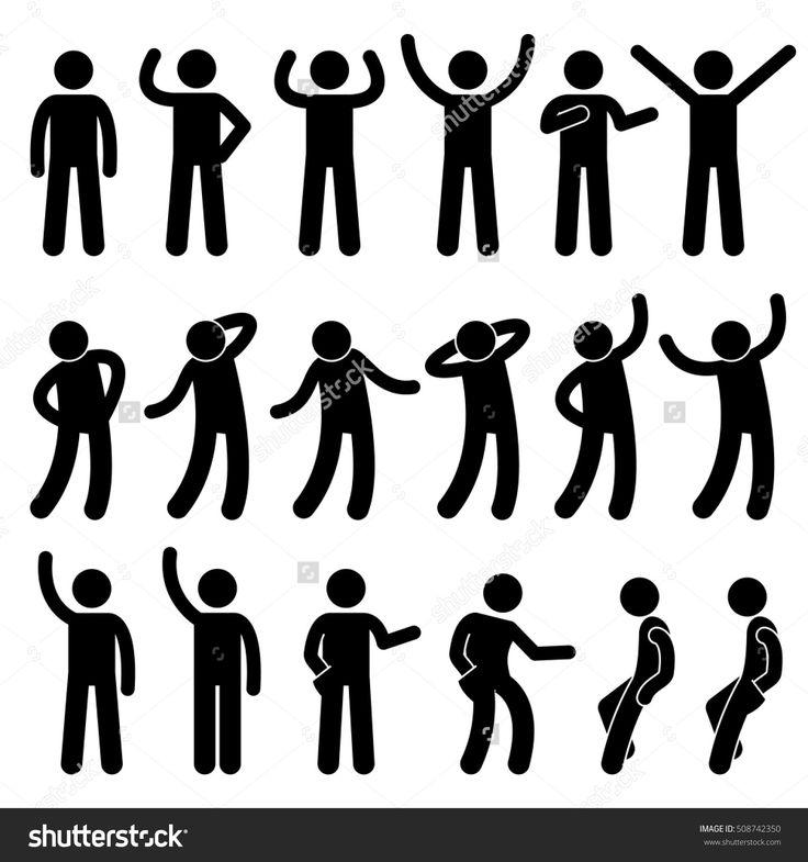 Various Standing Postures Poses Human Man People Stick Figure Stickman Pictogram Icons