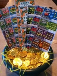 Pot of Gold Lottery Basket Such a cool basket! I have a really cool Where's Me Lucky Irish Lottery Basket here http://www.getyourholidayon.com/wheres-me-lucky-st-patricks-day-gift-basket/ follow me on Pinterest for more great ideas www.pinterest.com/getyourholidayon