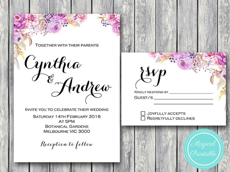 purple wedding invitation set wedding invitation printable pink floral engagement party invitation wedding invitation suite wd72 wi17