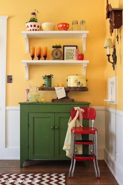 Perfect accent for a small wall in a small kitchen. Having fun with color! An indoor lemonade stand with DIY shelves via Inspired by CharmWall Colors, Lemonade Stands, Dining Rooms, Ideas, Kitchens Colors, Kitchens Wall, Yellow Wall, Coffee Bar, Diy Shelves
