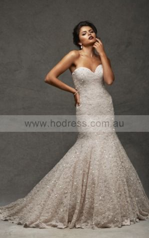 Mermaid Sleeveless Sweetheart Buttons Wedding Dresses fycf1001--Hodress