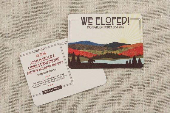 Fall Appalachian Mountains Wedding Elopement Announcement Postcard // Wedding Announcement Postcard