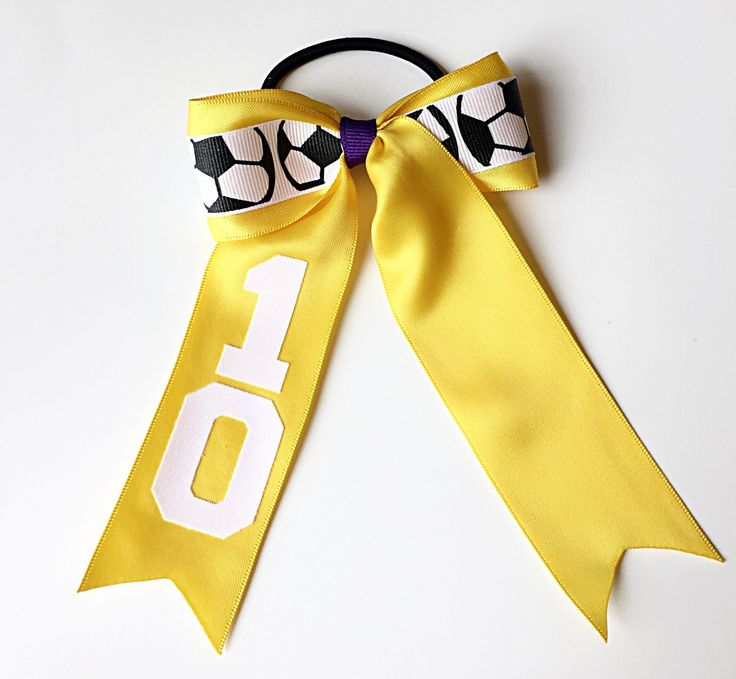 Custom Soccer Hair Bow, Soccer Bow, Personalized Soccer Hair Ribbons, Soccer Cheer Bow by SunshineandBling on Etsy