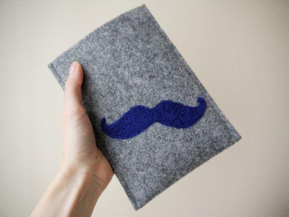blue mustache kindle cover! felt handmade kindle sleeve. kindle paperwhite cover. wool ereader case. gray kindle etui.