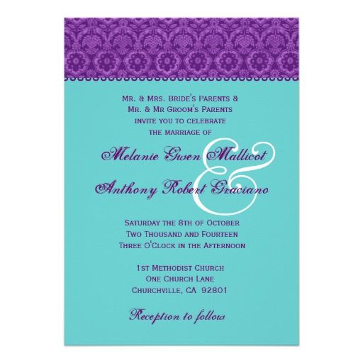 ShoppingPurple and Aqua Vintage  Damask Wedding Monogram Invitelowest price for you. In addition you can compare price with another store and read helpful reviews. Buy