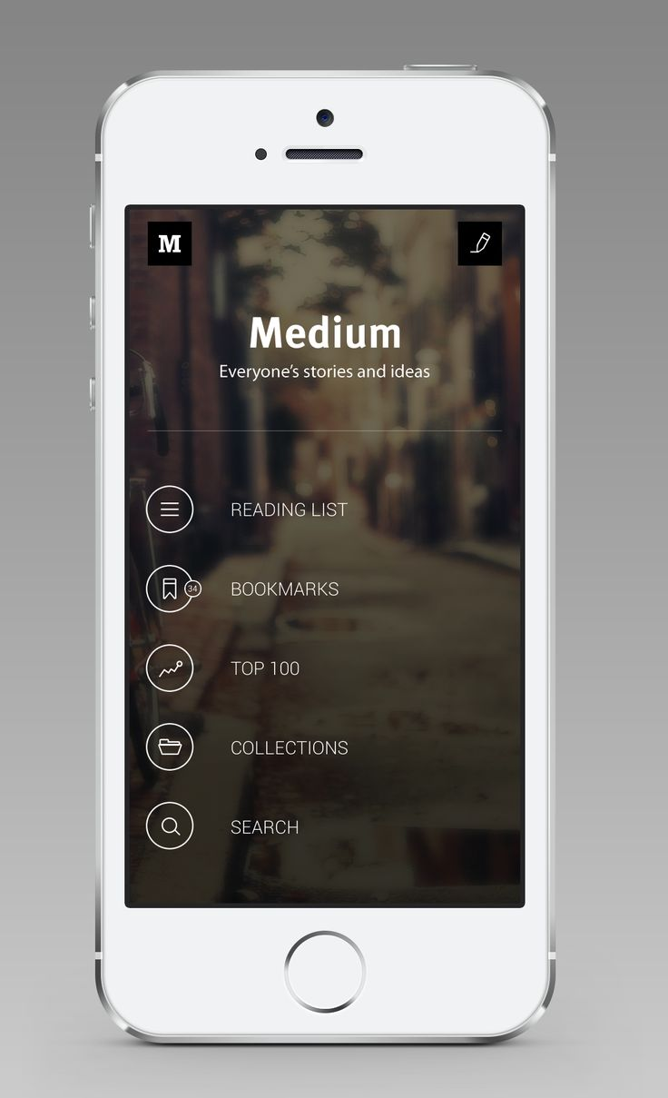 Medium for iOS (Main Screen) / André Givenchy