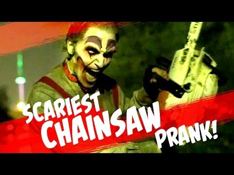 Clown Chainsaw Scare Prank - YouTube
