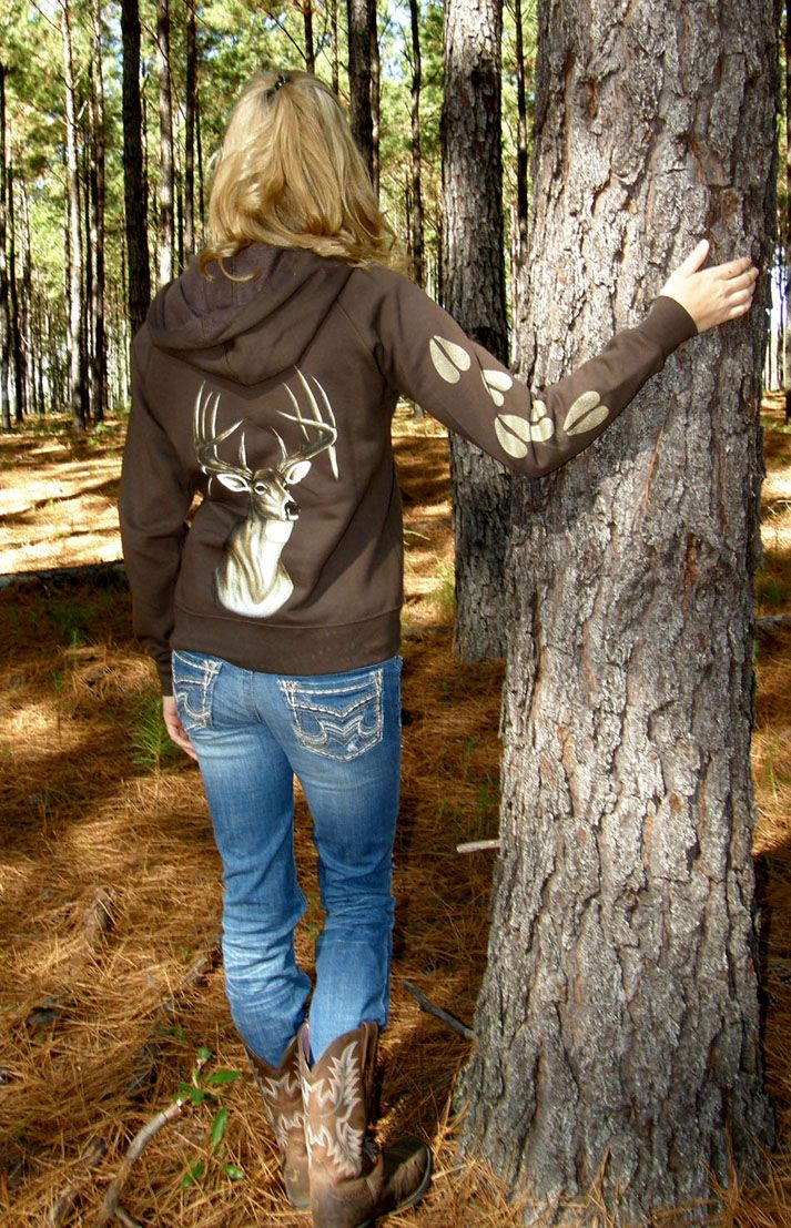 Womens Hunting Apparel-Chocolate Brown Deer Zip Hoddie