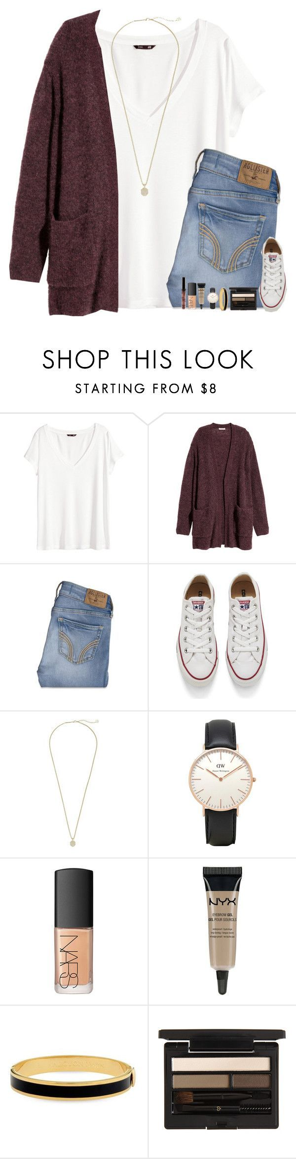 """When Will I Start Relating To Love Songs?"" by evieleet ❤ liked on Polyvore featuring H&M, Hollister Co., Converse, Kendra Scott, Topshop, NARS Cosmetics, NYX, Halcyon Days and Clé de Peau Beauté"