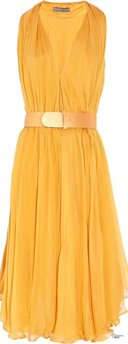 Alexander McQueen ● Yellow Belted Silk-Chiffon Dress