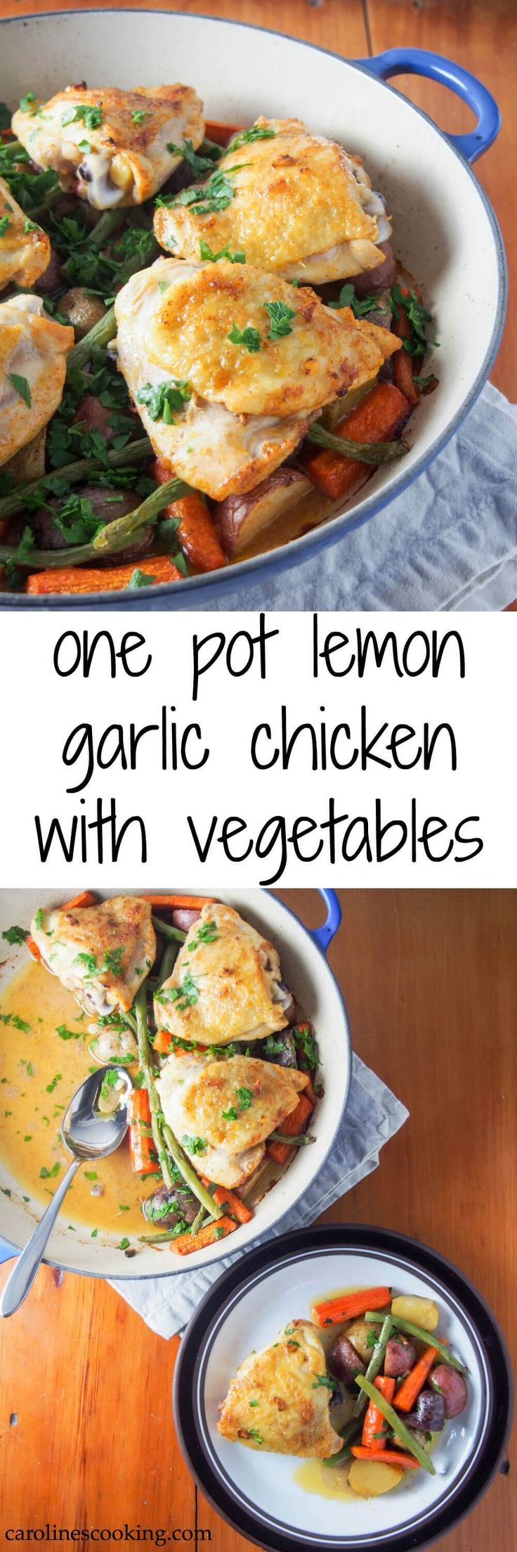 This one pot lemon garlic chicken with vegetables is easy to make, all roasted in the oven, with delicious simple flavors. A great meal on a busy night.