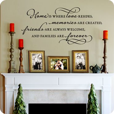 Home Is Where Love Resides Memories are created Friends are welcome and families are forever (wall decal from WallWritten.com). I absolutely love this. I might have to have something like this in the living room and bedroom.