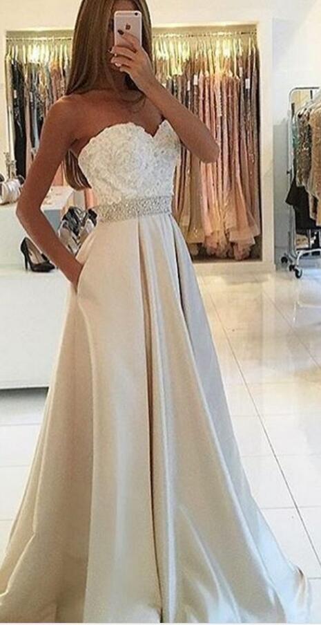 Elegant A-line Prom Dress, Strapless Prom Dress, Long Prom Dress, 2017 Prom Dress
