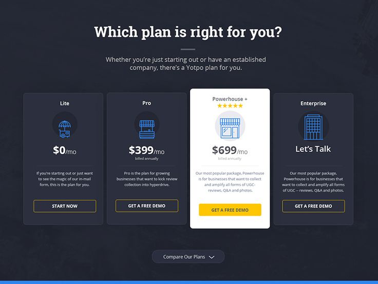 Yotpo Pricing Page by Adam - Dribbble