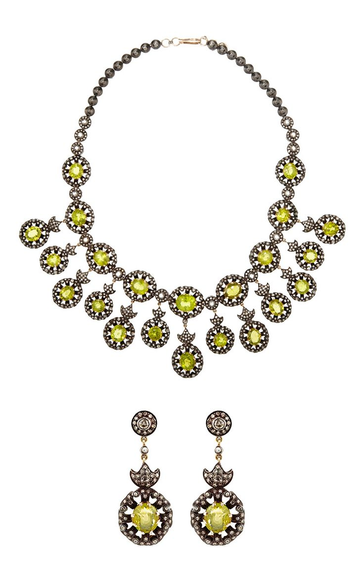 One Of A Kind Diamond & Peridot Necklace And Earrings Set By Amrapali For  Preorder On