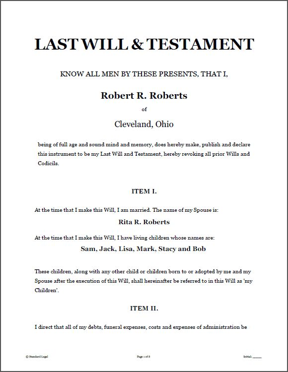 LAST WILL & TESTAMENT Legal Forms Software | Standard Legal - last will and testament sample form